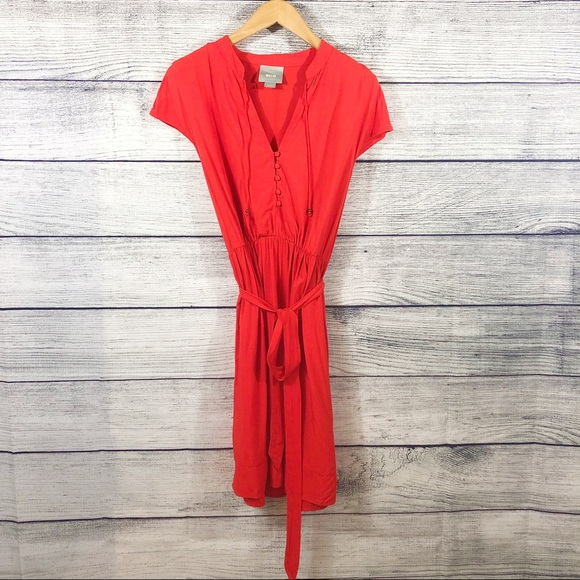 Anthropologie Dresses & Skirts - Maeve red orange v neck tie waist dress size small